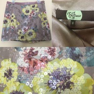 Eva Franco Riva Floral Sequin Beaded Pencil Skirt